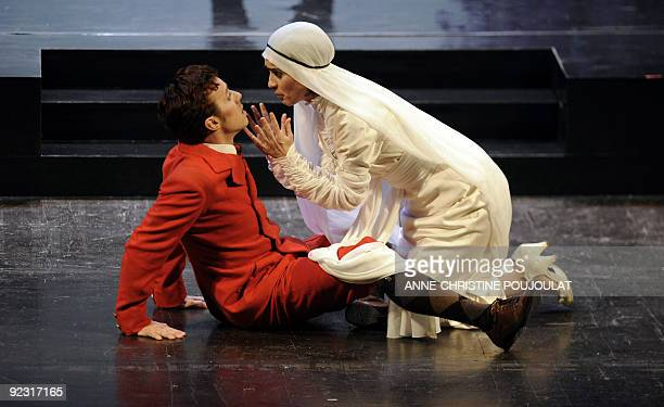 French actors Maïa Gueritte as Psyche and Julien Balajas as Amour perform during the ballet tragedy 'Psyche' by Moliere and Lulli directed by Julien...