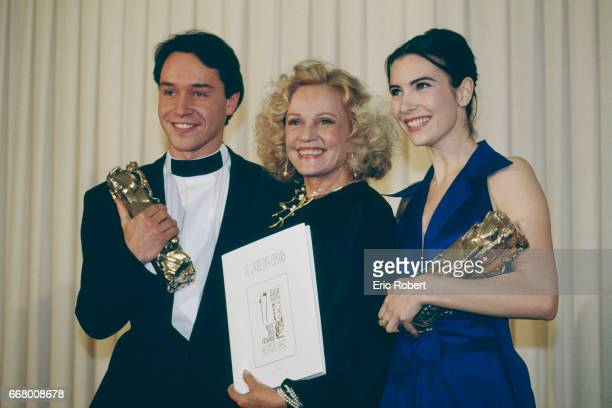 French actors Manuel Blanc Jeanne Moreau and Geraldine Pailhas attend the 17th Cesar Awards ceremony Maunel Blanc receives the Most Promising Actor...