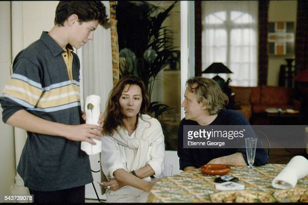 French actors Mathieu Crépeau Caroline Cellier and Niels Arestrup on the set of the film Délit mineur directed by French director Francis Girod