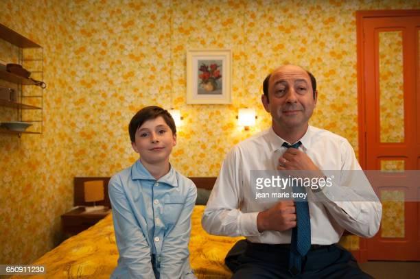 French actors Mathéo Boisselier and Kad Merad on the set of Les Vacances du Petit Nicolas directed by Laurent Tirard