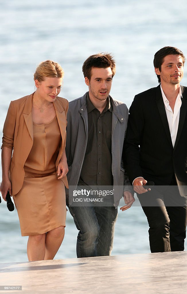 French actors Melanie Thierry (L), Gregoire Leprince-Ringuet and Raphael Personnaz arrive to attend the Canal+ TV show 'Le Grand Journal' at the 63rd Cannes Film Festival on May 17, 2010 in Cannes.