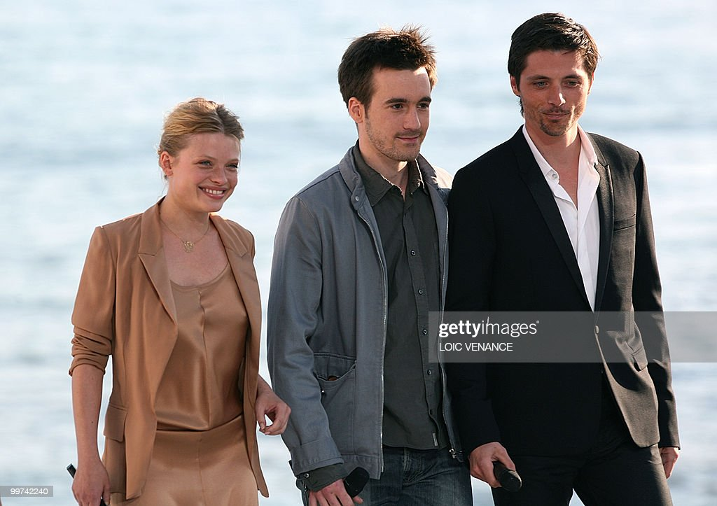 French actors Melanie Thierry (L), Gregoire Leprince-Ringuet (C) and Raphael Personnaz arrive to attend the Canal+ TV show 'Le Grand Journal' at the 63rd Cannes Film Festival on May 17, 2010 in Cannes.