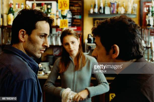 French actors Michael Cohen Anouk Grinberg and Patrick Bruel on the set of the film Une Vie a T'Attendre directed by Thierry Klifa