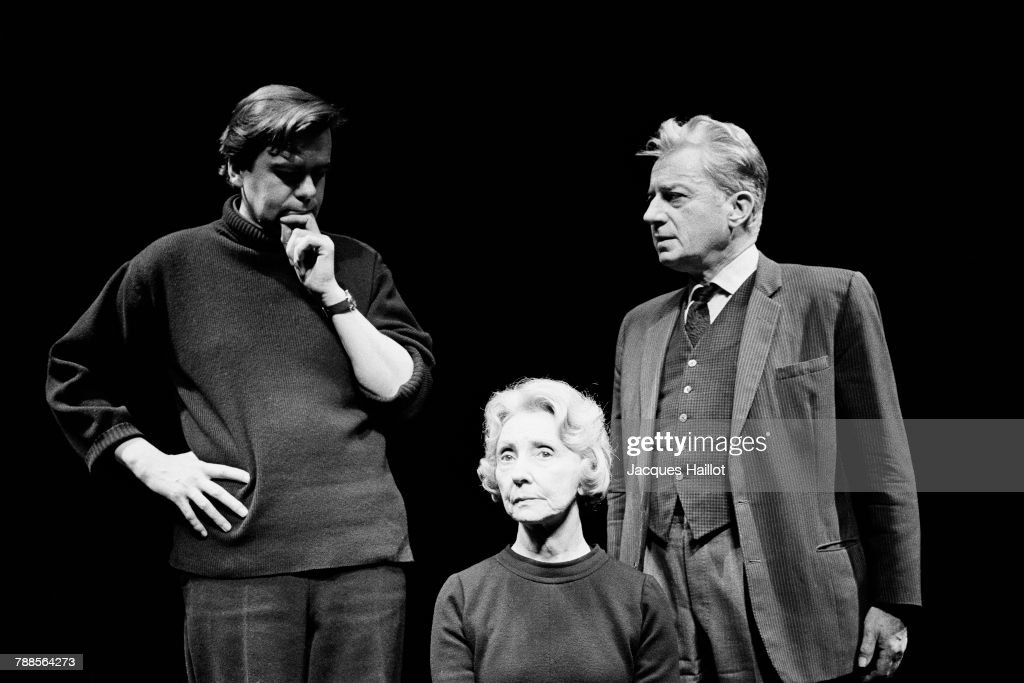 French actors Michael Lonsdale, Madeleine Renaud, and Claude Dauphin on the play L'Amante anglaise, written by Marguerite Duras, and directed by Claude Regy, at ThÌÄå©ÌÄå¢tre National Populaire (TNP), at the Palais de Chaillot, in Paris.