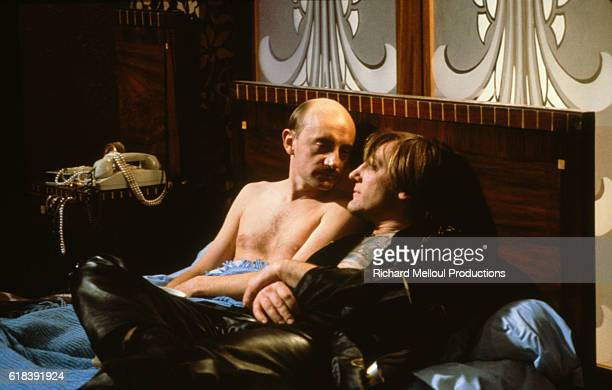 French actors Michel Blanc and Gerard Depardieu on the movie set of Tenue de Soirée written and directed by Bertrand Blier