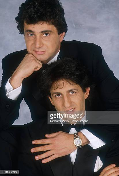 French actors Michel Boujenah and Richard Anconina pose in Tuxedos Boujenah and Anconina were the stars of the 1987 film Levy et Goliath