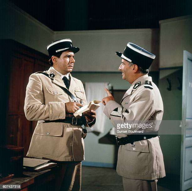 French actors Michel Galabru and Louis de Funès on the set of Le Gendarme de Saint-Tropez, written and directed by Jean Girault.