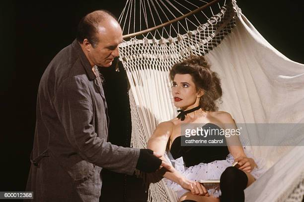 French actors Michel Piccoli and Fanny Ardant on the set of the film Le Paltoquet directed by Michel Deville