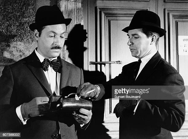 French actors Michel Serrault and Jean Poiret on the set of La bonne occase directed by Michel Drach