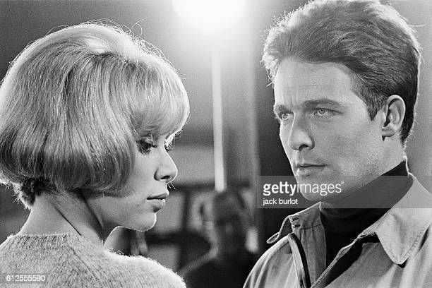 French actors Mireille Darc and Jacques Charrier on the set of A Belles Dents written and directed by Pierre GaspardHuit