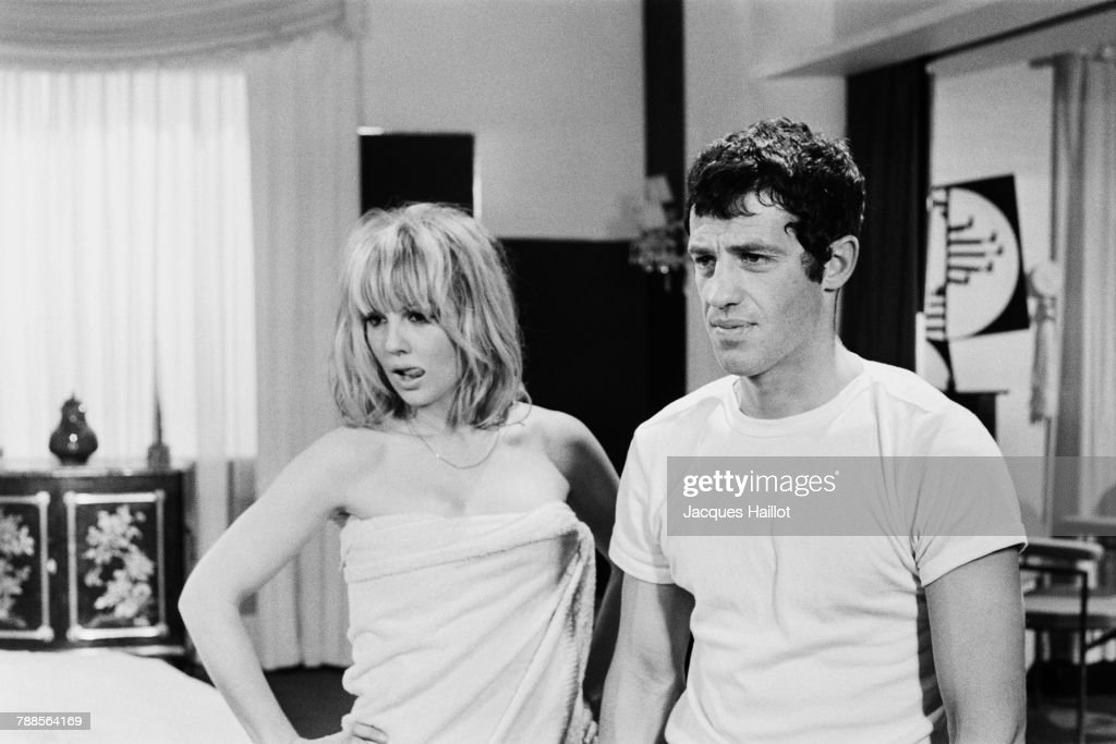 French actors Mylene Demongeot and Jean-Paul Belmondo on the set of Tendre Voyou (Tender Scoundrel ), written and directed by Jean Becker.