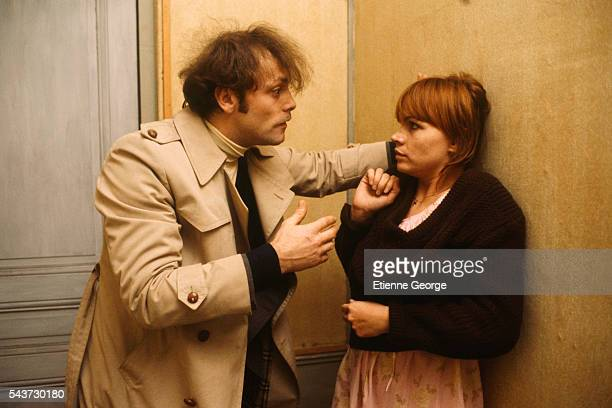French actors Myriam Boyer and Patrick Dewaere on the set of the film Serie Noire directed by Alain Corneau and based on American writer Jim...
