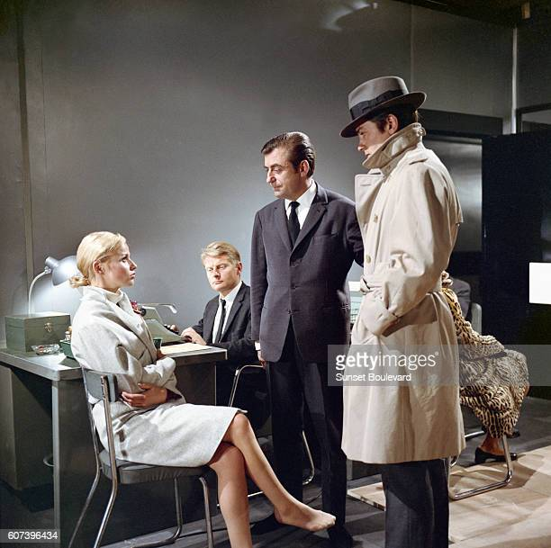 French actors Nathalie Delon Francois Perier and Alain Delon on the set of Le Samourai written and directed by JeanPierre Melville