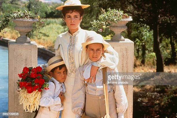 French actors Nathalie Roussel and Julien Ciamaca on the set of the film Le Chateau de Ma Mere directed by Yves Robert