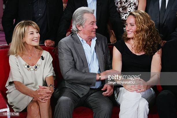 French actors Nicole Calfan Alain Delon and french olympic champion swimmer Camille Muffat Agnel attend Vivement Dimanche Tv show on September 5 2012...