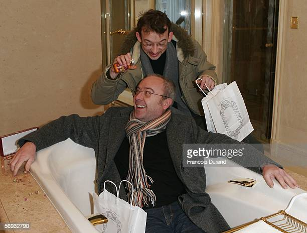 French actors Olivier Barroux and Julien Courbey attend the Espace Glamour Chic gift lounge at the George V hotel on February 23 2006 in Paris France...