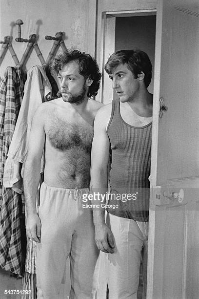French actors Patrick Dewaere and Gerard Depardieu on the set of Preparez Vos Mouchoirs written and directed by Bertrand Blier The film won an Oscar...