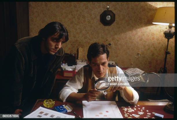 French actors Philippe Volter and Herve Laudiere act in a scene from the 1989 French film Les Bois Noirs Directed by Jacques Deray the movie is based...