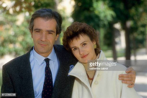 French actors Pierre Arditi and Miou Miou during the filming of the television movie Une Vie Comme Je Veux directed byJeanJacques Goron