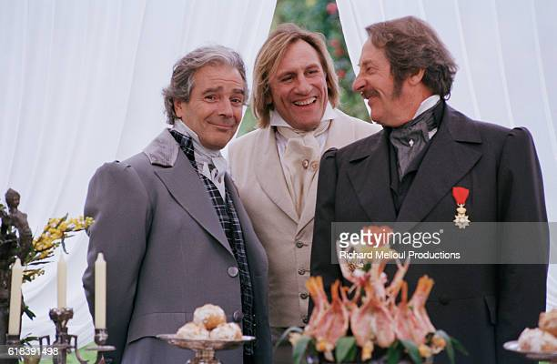 "French actors Pierre Arditi, Gerard Depardieu, and Jean Rochefort on the set of TV film ""Le Comte de Monte Cristo""."