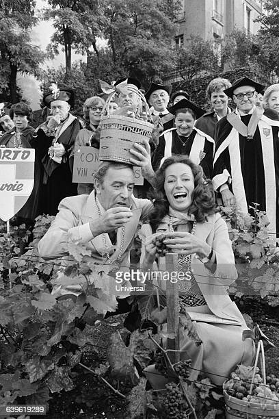 French actors PierreJean Vaillard and Claudine Coster during the traditional grape harvest at the Clos Montmartre