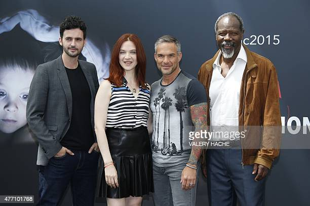 French actors Raphael Ferret, Odile Vuillemin, Philippe Bas and Jean-Michel Martial pose during the 55th Monte-Carlo Television Festival on June 14...