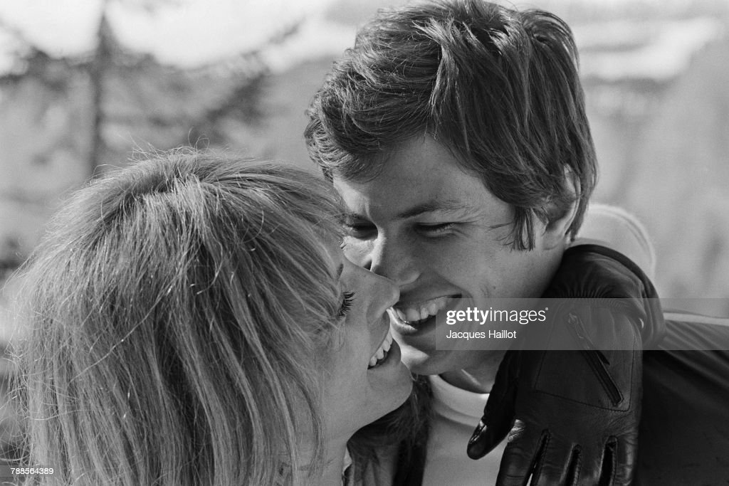 French actors Renaud Verley and Nathalie Delon on the set of La lecon particuliere, written and directed by Michel Boisrond.