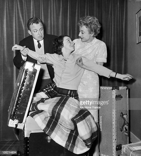 French Actors Robert Dhery And Colette Brosset Meeting Their Daughter Upon Their Coming Back Back From The Usa On February 2, 1961.