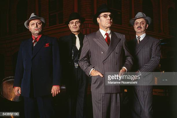 French actors Roland Blanche JeanPierre Kalfon Guy Bedos and Bernard Ballet in the play La Resistible Ascension d'Arturo Ui written by German writer...