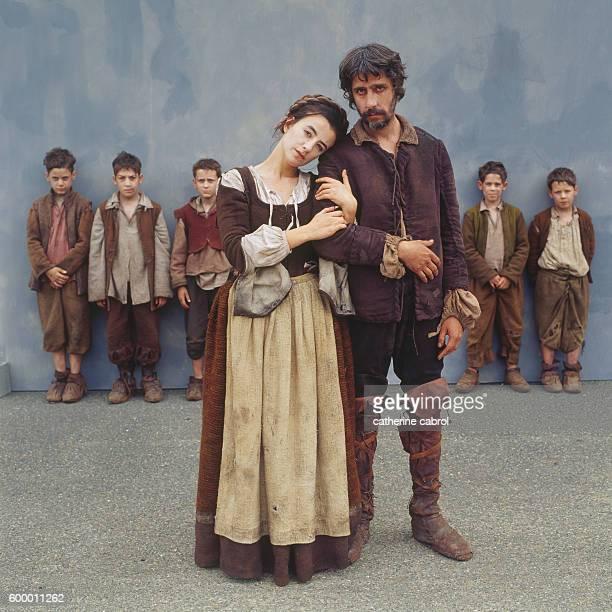 French actors Romane Bohringer and Pierre Berriau pendant le tournage du film 'Le Petit poucet' réalisé par Olivier Dahan