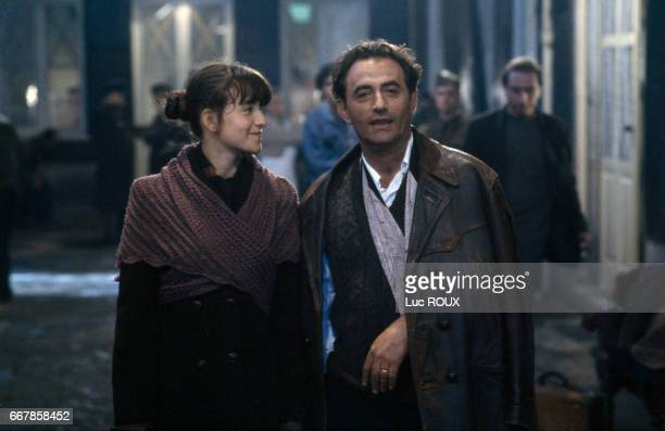 French actors Romane Bohringer and Richard Bohringer on the set of the film L'Accompagnatrice written and directed by Claude Miller