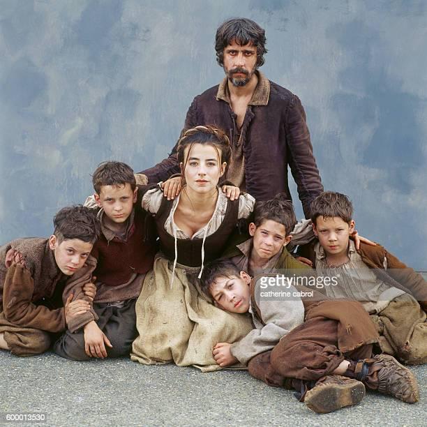 French actors Romane Borhinger Pierre Berriau and the child actors of the film 'Le Petit poucet' directed by Olivier Dahan