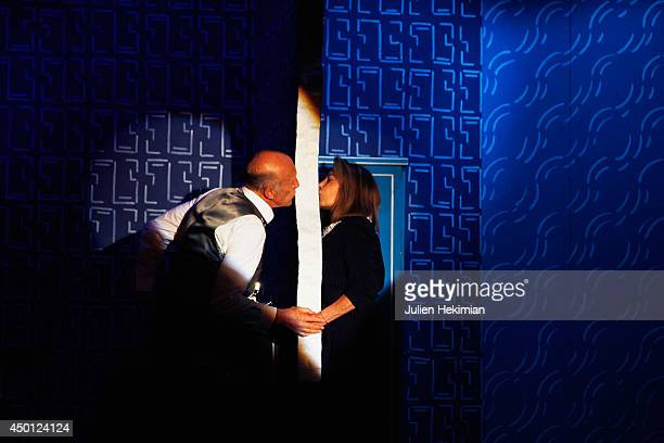 French actors Rufus and Nicole Calfan perform on stage during 'Le Mur' Theater Play Premiere on June 5 2014 in Paris France