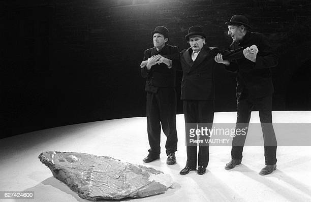 French actors Rufus Michel Bouquet and Georges Wilson perform a scene from Samuel Beckett's play Waiting for Godot at the 33rd annual Festival...