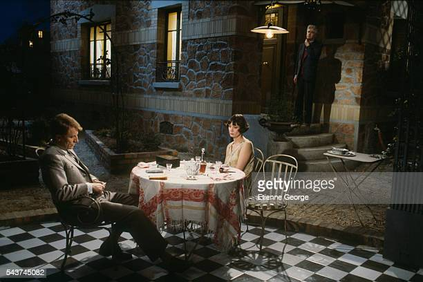 French actors Sabine Azéma and André Dussollier on the set of Melo, directed by Alain Resnais based on the Henri Bernstein play. Sabine Azéma won the...