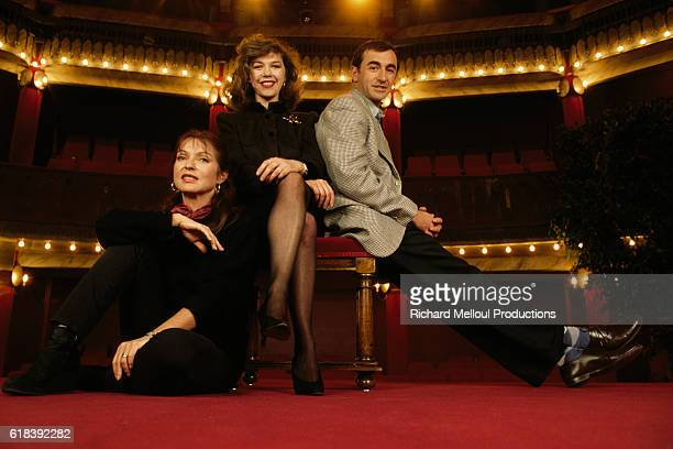 French actors Sabine Haudepin et MarieFrance Pisier and Christophe Malavoy for the stage play Ce qui Arrive et ce qu'on Attend at the Theatre de la...