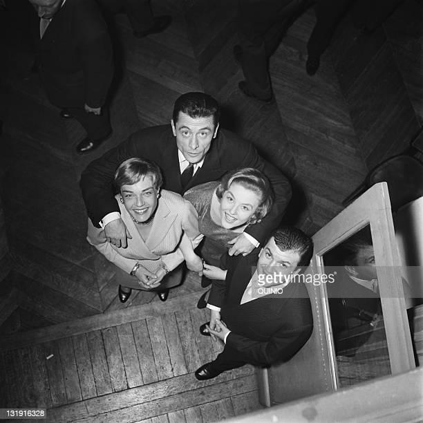 French Actors Simone Signoret Robert Lamoureux Nicole Courcel and Pierre Mondy