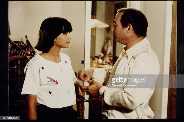 French actors Sophie Marceau and Claude Brasseur on the set of La Boum written and directed by Claude Pinoteau