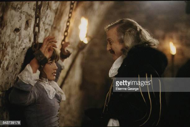 French actors Sophie Marceau and Claude Rich on the set of the film La fille de d'Artagnan directed by French director Bertrand Tavernier
