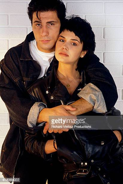 French actors Stephane Ferrara and Catherine Wilkening embrace Ferrara and Wilkening starred in the 1987 French film Mon bel amour ma dechirure...