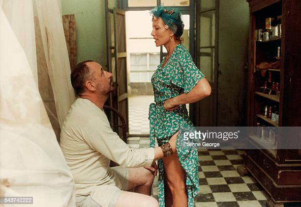 French actors Stéphane Audran and Philippe Noiret on the movie set of Coup de torchon directed by Bertrand Tavernier
