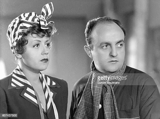 French actors Suzy Delair and Bernard Blier on the set of Quai des Orfèvres based on the novel by StanislasAndré Steeman and directed by HenriGeorges...