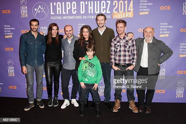 French actors Tarek Boudali Charlotte Gabris Julien Arruti Alice David Enzo Tomasini Vincent Desagnat Philippe Lacheau and Gerard Jugnot pose during...