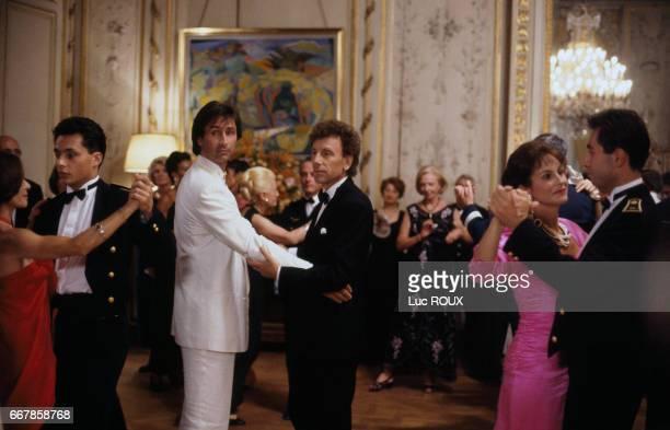 French actors Thierry Lhermitte and Alain Souchon on the set of La Fete de Peres directed by Joy Fleury
