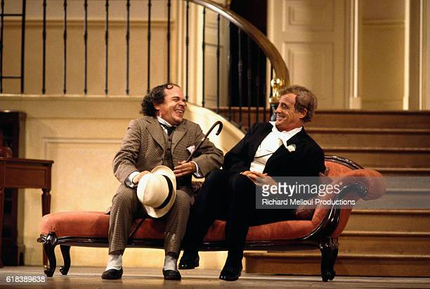 French actors Ticky Holgado and JeanPaul Belmondo perform in the Georges Feydeau play Tailleur pour les Dames at the Theatre de Paris