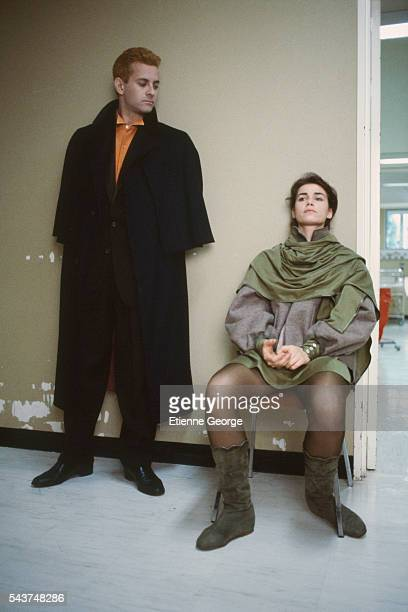 French actors Valérie Kaprisky and Francis Huster on the set of La Femme publique directed by Andrzej Zulawski