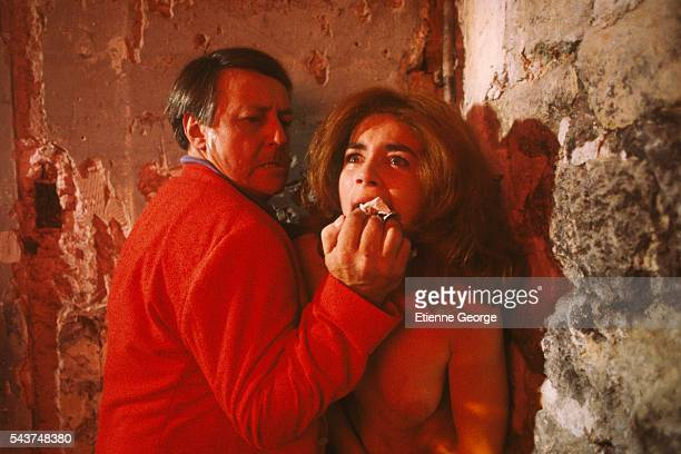French actors Valérie Kaprisky and Roger Dumas on the set of La Femme publique directed by Andrzej Zulawski