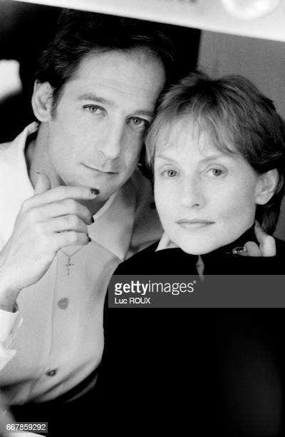 French actors Vincent Lindon and Isabelle Huppert on the set of L'Ecole de la Chair based on the novel by Yukio Mishima and directed by Benoit Jacquot