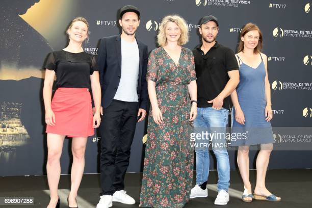 French actors Yeelem Jappain Ali Marhyar Cecile Bois Raphael Lenglet and Nathalie Boutefeu pose during a photocall for the TV show Candice Renoir as...