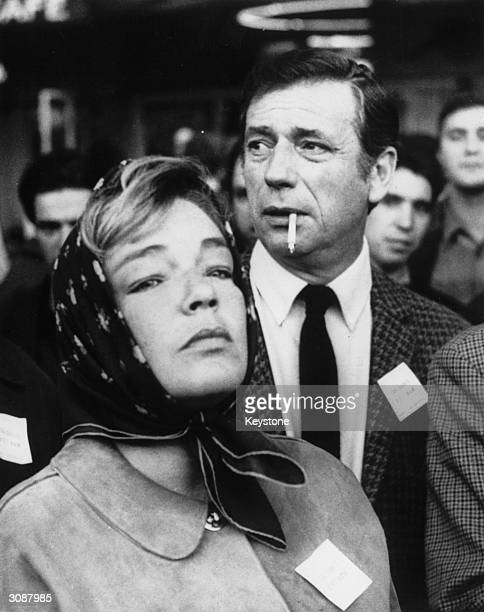 French film star Yves Montand with his wife Simone Signoret in an antiVietnam War protest in Paris It coincided with similar protests in Washington